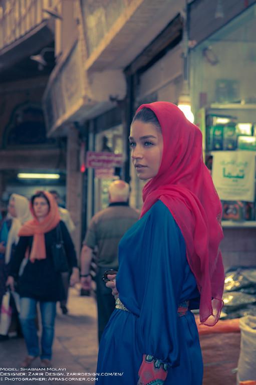 Shabnam Molavi in the Bazaar of Tehran, Iran