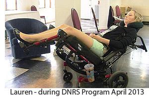 Lauren in Wheelchair during DNRS Program