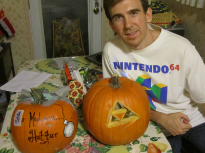 The Legend of Zelda: Skyward Sword pumpkin and Alice in Wonderland Cheshire cat pumpkin on Paul Gale Network