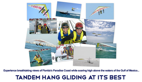 Ten pictures placed together of hang gliders over the water in Florida to create a collage for Paradise Hang Gliding.