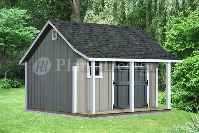14 39 x 12 39 backyard storage shed with porch plans p81214 for Barn with porch