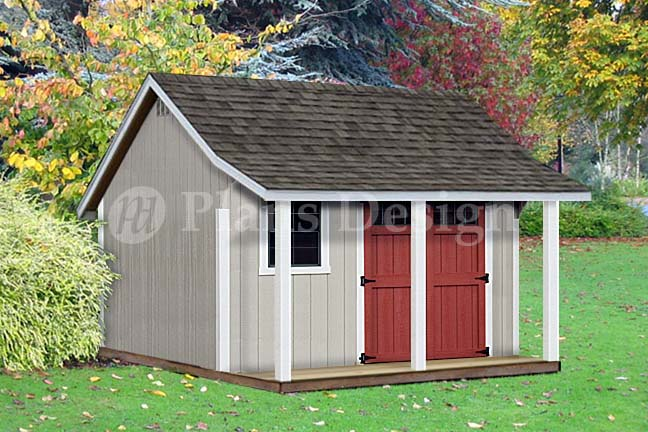12 39 x 12 39 backyard storage shed with porch plans p81212 for Garden shed 12x12