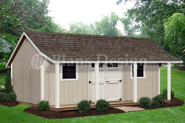 12 39 x 20 39 storage shed with porch playhouse plans for Playhouse with garage plans