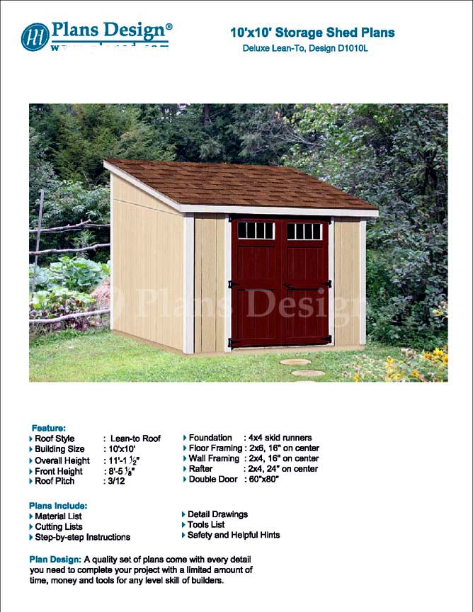 Details About 10 X 10 Deluxe Shed Plans Lean To Roof Style Design D1010l Material List