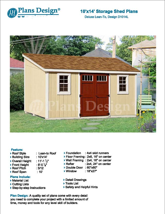 10 39 x 14 39 storage shed plans slant lean to d1014l for Shed plans and material list