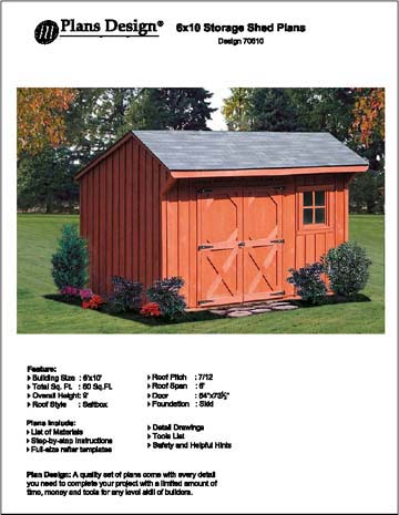 Details About 6 X 10 Saltbox Style Storage Shed Project Plans Design 70610