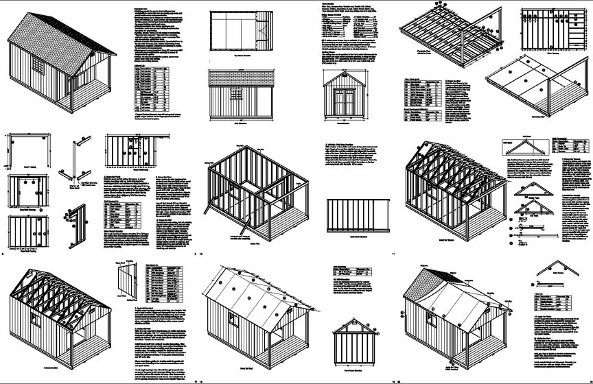 16 39 x 10 39 cabin pool house shed with porch plans p61610 for House plans with material list