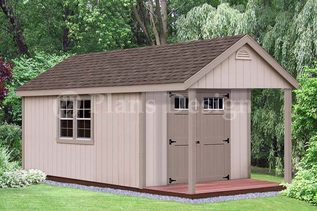 16 39 X 10 39 Cabin Poolhouse Shed With Porch Plans P61610