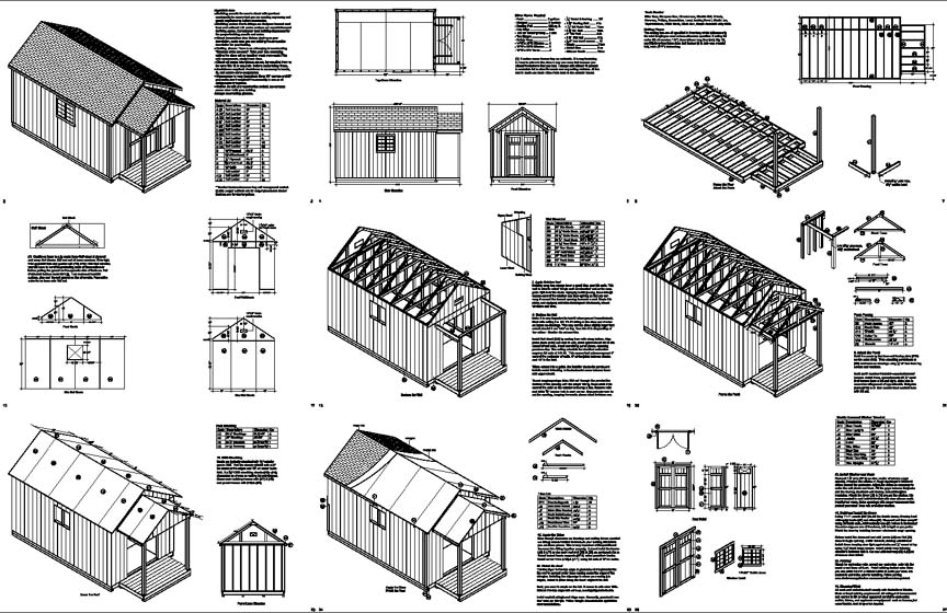 20 39 x 10 39 potting patio pool house shed plans p72010 for House plans with material list