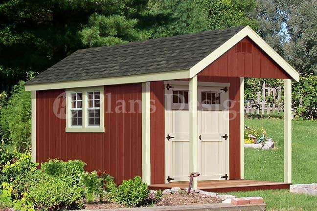 14 39 x 8 39 cabin shed with porch plans blueprint p61408 for Shed with loft and porch