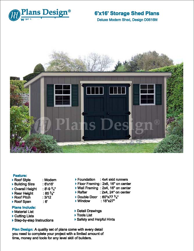 6\' x 16\' Deluxe Storage Shed Plans / Building Blueprints, Modern ...