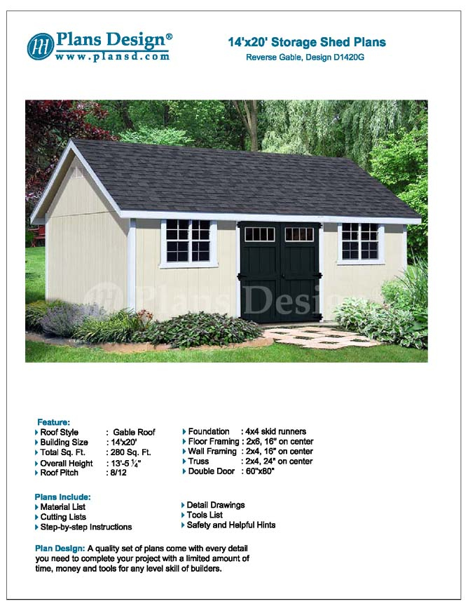 Details about How To Build A Storage Shed 14' x 20' Reverse Gable Roof  Style Design # D1420G