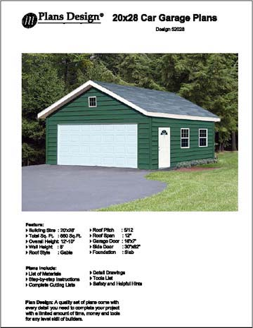 20 39 x 28 39 car garage project plans material list included for Material list for garage