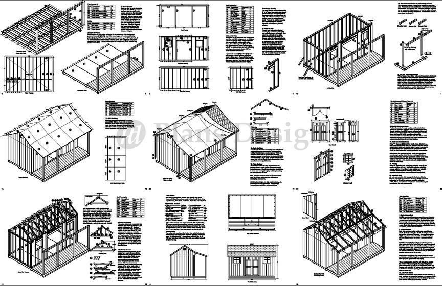 12 39 x 16 39 shed with porch pool house plans p81216 free for House plans with material list