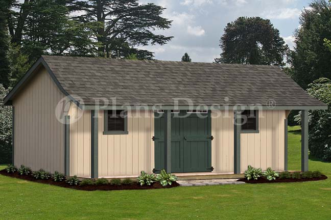 16 x 24 Guest House Storage Shed with Porch Plans Bonnet Roof