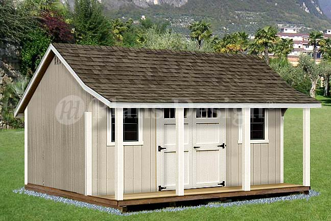 12\' x 16\' Shed with Porch / Pool House Plans #P81216, Free Material ...