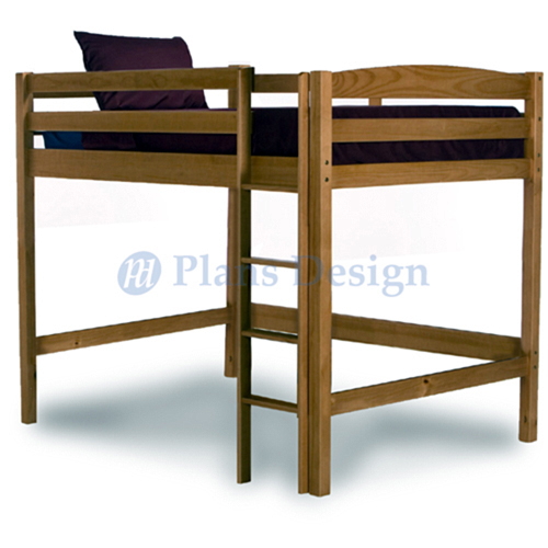 Twin Loft Bunk Bed Woodworking Plans Patterns on Paper Design 1203