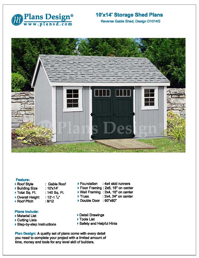 Garden Storage Shed Plans 10 X 14 Gable Roof Design D1014g Free - designer garden sheds nz