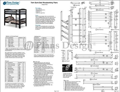 Twin Bunk Bed Woodworking Plans, Material list, drawings
