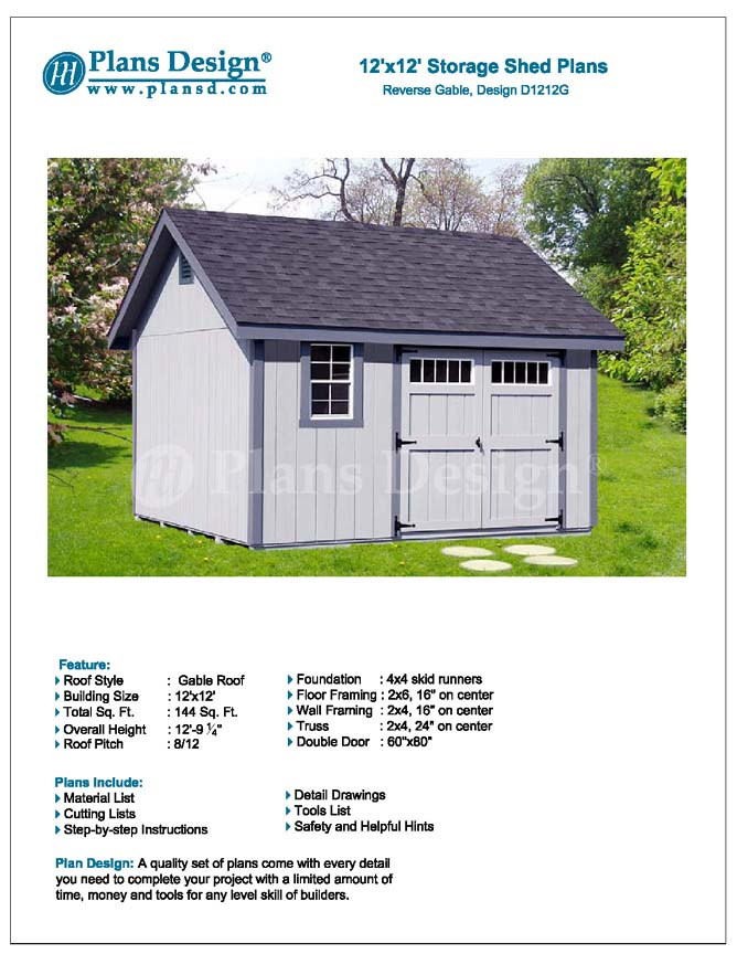 Shed plans outdoor building blueprints 12 39 x 12 39 gable for 144 sq ft shed