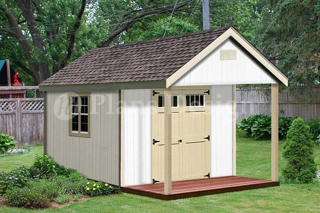 16 39 X 12 39 Cabin Shed Covered Porch Plans Plueprint P61612