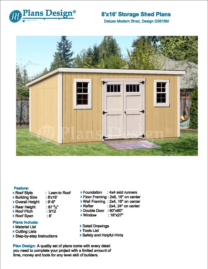 Details About 8 X 16 Deluxe Shed Plans Modern Roof Style Design D0816m Material List