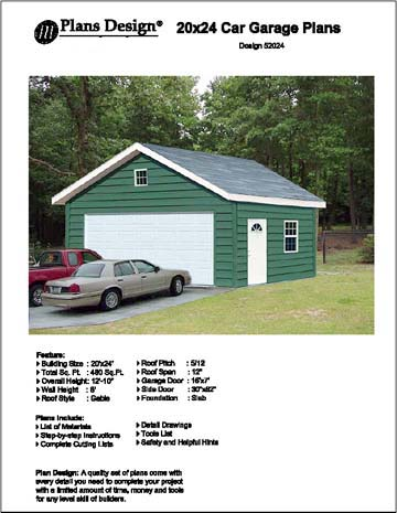 20 39 x 24 39 car garage project plans material list included for 20 x 24 garage plans