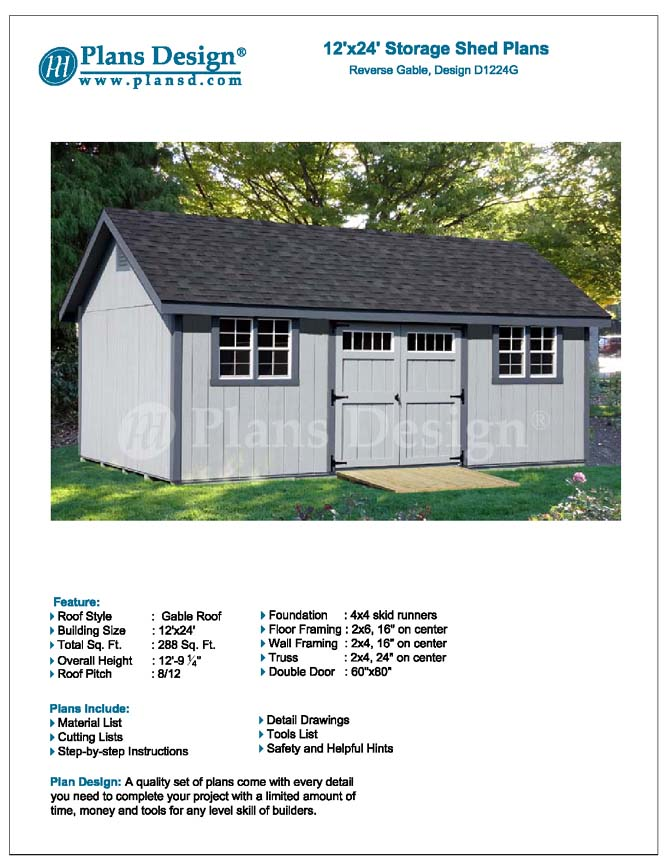 Storage shed plans 12 39 x 24 39 gable roof style d1224g for Material list for shed