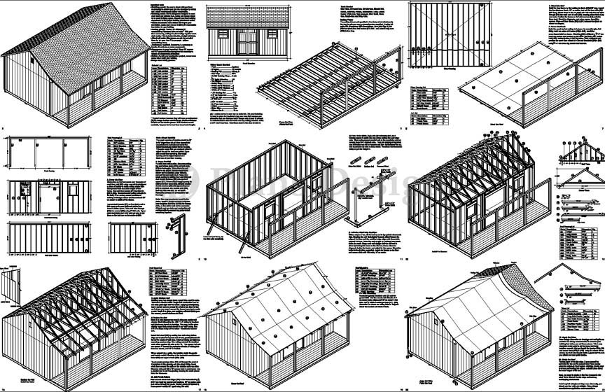 Amazing 16X20 Ft Guest House Storage Shed With Porch Plans P81620 Free Inspirational Interior Design Netriciaus