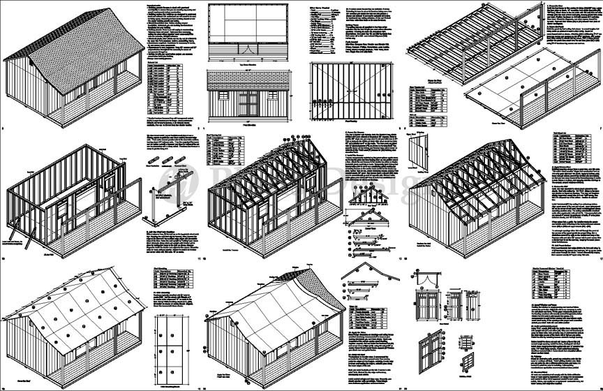14 39 x 20 39 cape code storage shed with porch plans p81420 for Free garage plans and material list