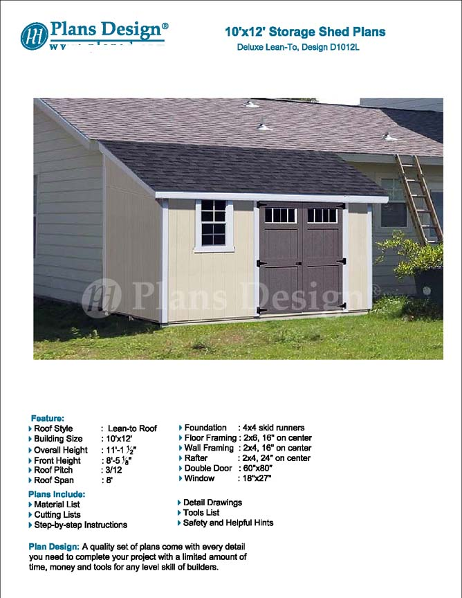 10 39 x 12 39 classic storage shed plans lean to d1012l for Shed plans and material list