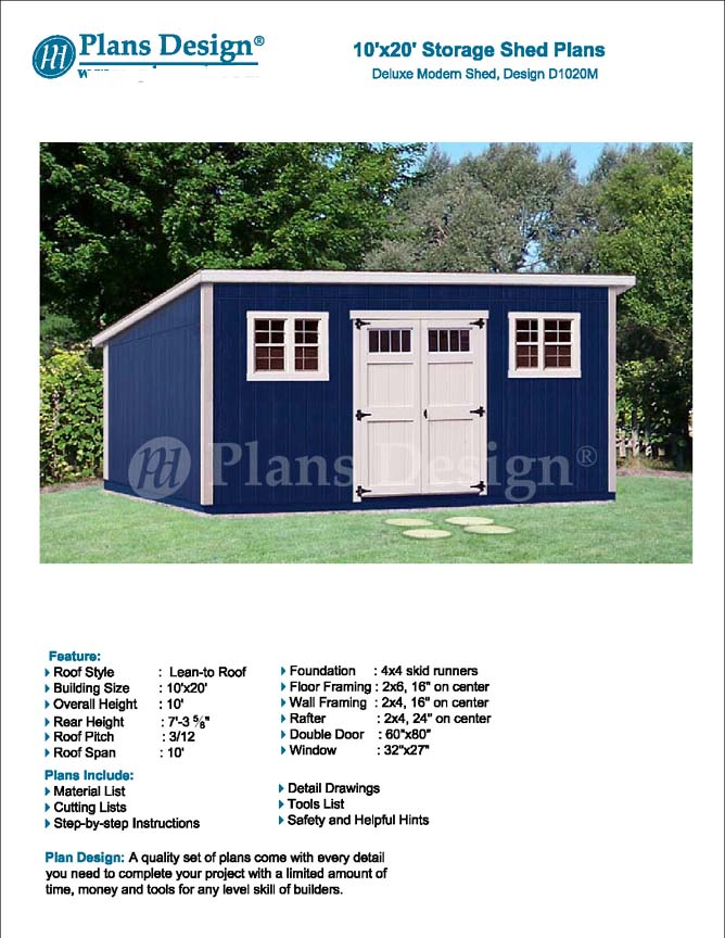 10 x 20 Deluxe Modern Backyard Storage Shed Plans D1020M Free
