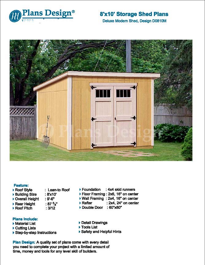 8 39 x 10 39 deluxe shed plans modern roof style d0810m for Free shed design software with materials list