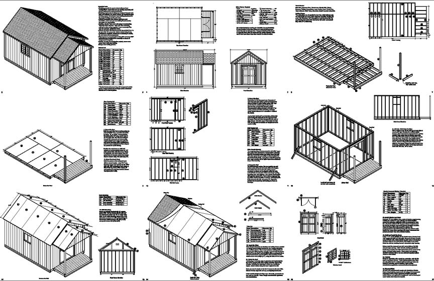 20 39 x 12 39 guest house garden porch shed plans p72012 for Free house plans with material list