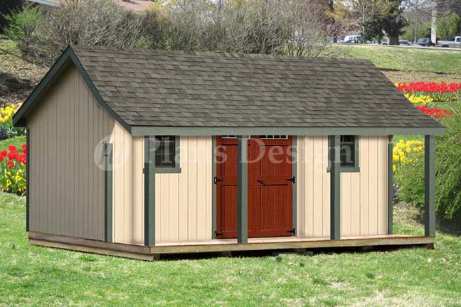 16x20 ft guest house storage shed with porch plans p81620 for 16x20 garage plans