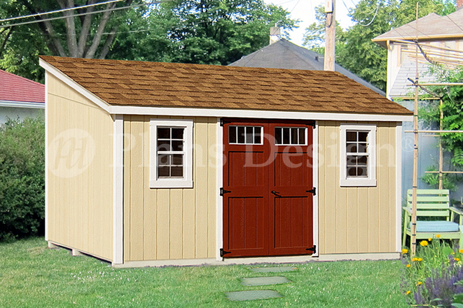 10 39 x 14 39 storage shed plans slant lean to d1014l for Material list for shed