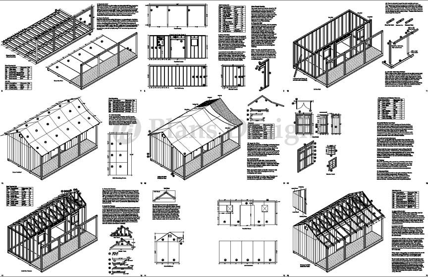 Details about 12' x 20' Storage Shed with Porch / Playhouse Plans # ...