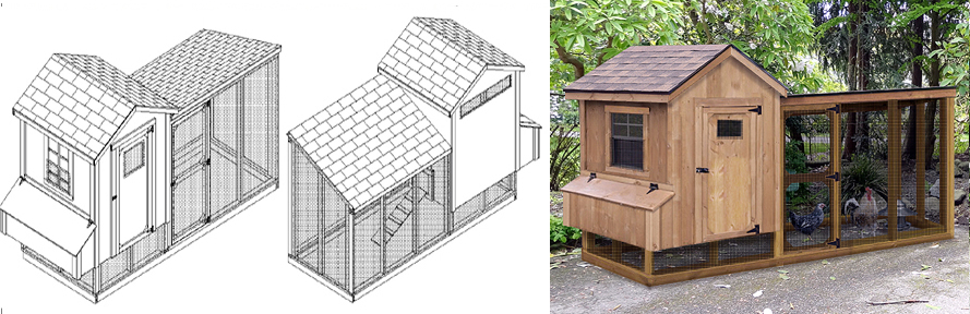 Chicken Coop Plans With Kennel Run 4 X 10 Gable