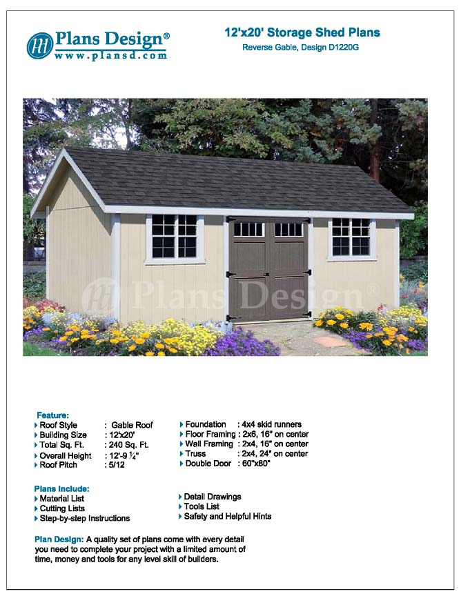 Shed plans blueprints 12 39 x 20 39 gable roof style d1220g for Shed plans and material list