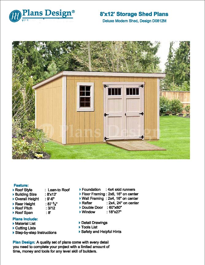 Modern roof style 8 39 x 12 39 deluxe shed plans d0812m for Shed plans and material list