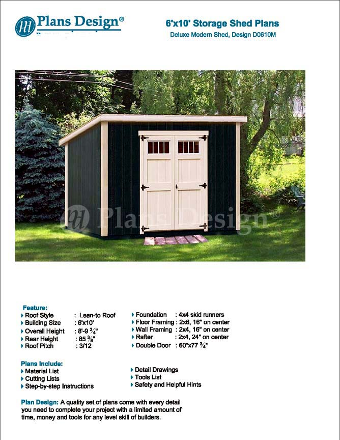 Details About 6 X 10 Deluxe Shed Plans Modern Roof Style Design D0610m Material List