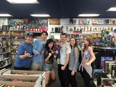 Bat in the Sun Super Power Beat Down Sean Schoenke, Aaron Schoenke, Jennifer Wenger, Bryson Paul Gale, Paul Gale, Kimberly Gale, Marisha Ray with Paul Gale Network at Collector's Paradise