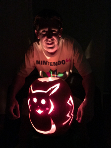 Paul Gale Network with his Halloween 2016 Jack-o-Lantern Pumpkin Carving of Pikachu from Pokemon Sun and Pokemon Moon