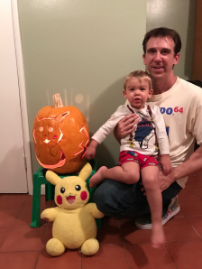 Paul Gale Network and Bryson Paul Gale with their Pikachu from Pokemon's 20th Anniversary Halloween Pumpkin Carving for 2016 in the light