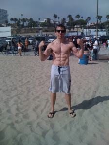 Flexing at Santa Monica Beach on Paul Gale Network