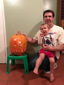 Paul Gale Network and Bryson Paul Gale with their Nintendo Switch Joy-Con and logo Halloween Pumpkin Carving for 2016 in the light