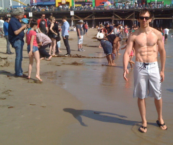 Walking on the sand at Santa Monica Beach on Paul Gale Network