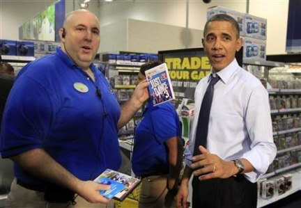 President Barack Obama buying Just Dance 3 for Wii at Best Buy on Paul Gale Network