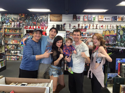 Bat in the Sun Super Power Beat Down Sean Schoenke, Aaron Schoenke, Jennifer Wenger, Bryson Paul Gale, Paul Gale, Marisha Ray with Paul Gale Network at Collector's Paradise