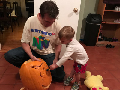 Bryson Paul Gale helping create this Halloween 2016 Pikachu and Nintendo Switch Pumpkin on Paul Gale Network